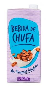"""""""Bebida de chufa sin azúcares añadidos"""" Hacendado fabricada por J García Carrión"""