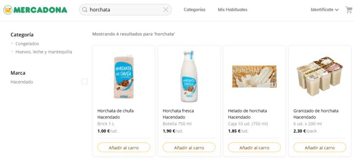 Búsqueda por horchata en la tienda online de Mercadona (9 de mayo de 2019)
