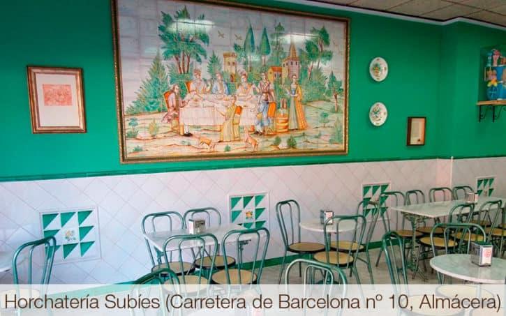 Horchatería Subíes (Carretera de Barcelona nº 10, Almácera)