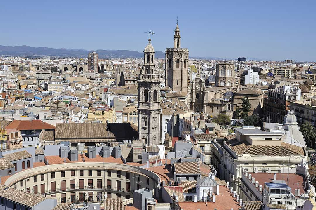Vista panorámica de Valencia (España) - Ciudad de la horchata de chufa